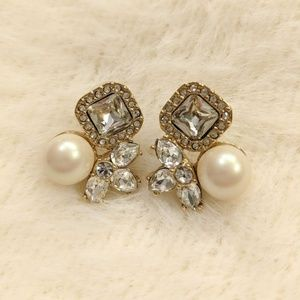 Kate Spade Pearl and Crystal Cluster Earrings